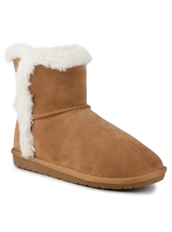 Poppy Faux Fur Short Boots - Cognac Fabric - Front