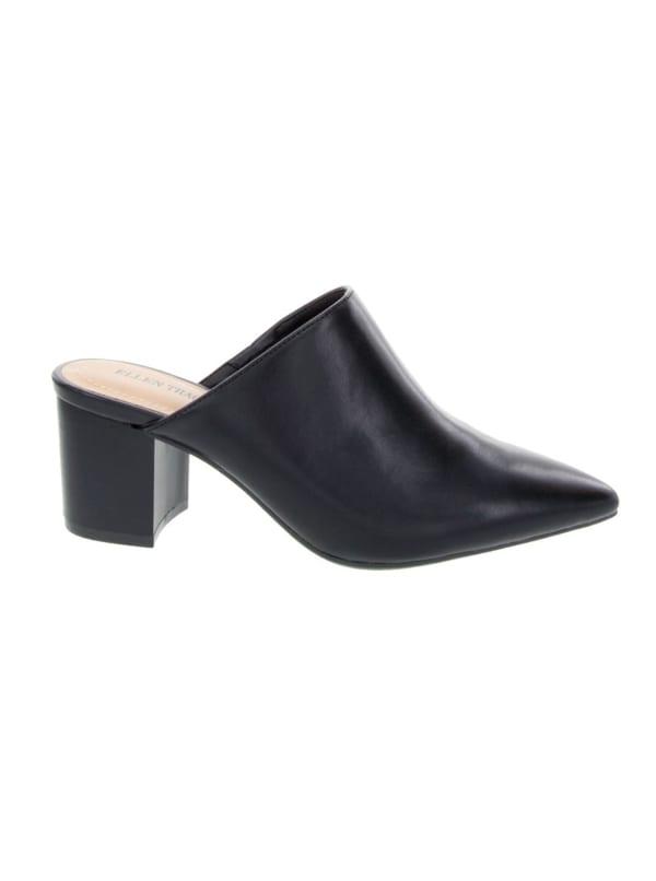 Emma Block Heel Mule - Black - Front