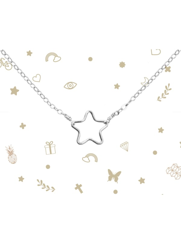 Sterling Silver Star Necklace - Sterling Silver - Front