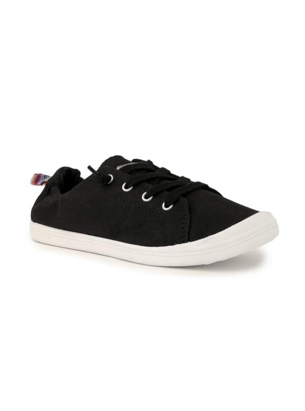 Genius Lace Up Sneaker - Black Fine Canvas - Front