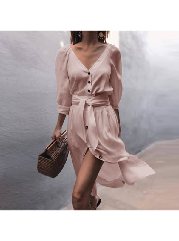 Buttoned V-Neck Dress With Belt - Rose - Front