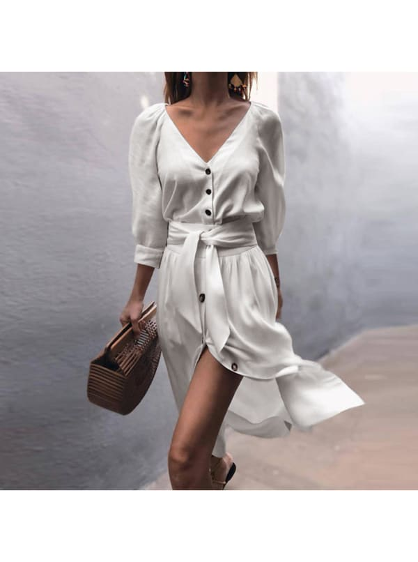 Buttoned V-Neck Dress With Belt - White - Front