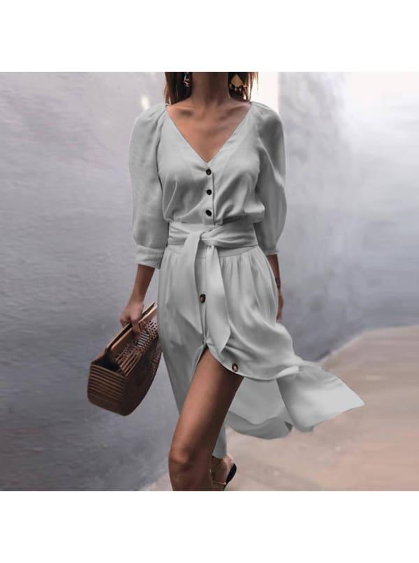 Buttoned V-Neck Dress With Belt - Blue - Front