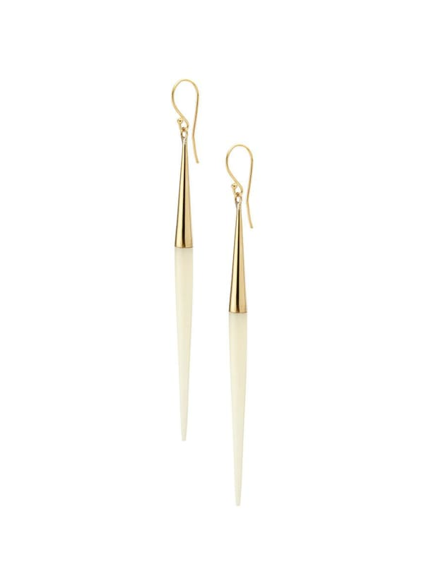 Handcrafted 24K Gold Plated Capped Quill Dangle Earrings - Gold / White - Front
