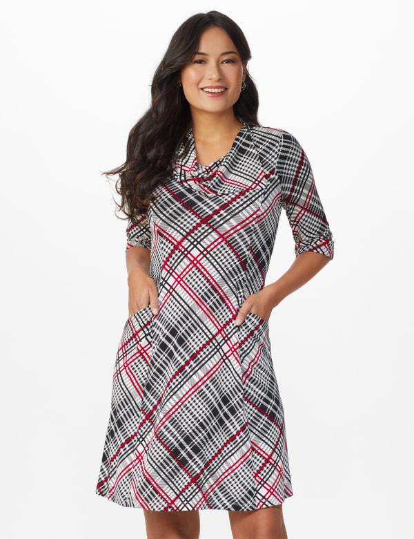 Plaid Split Cowl Dress - Black - Front
