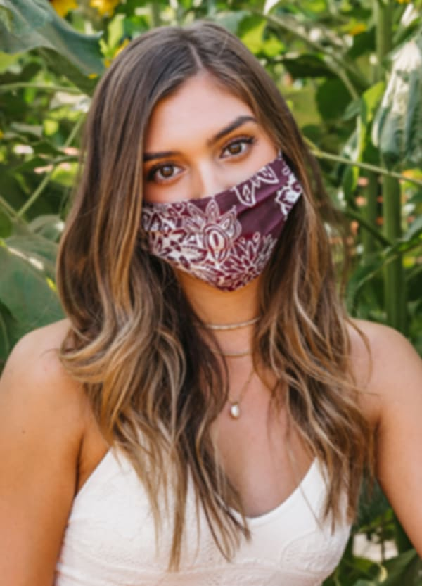 Burgundy Nose Wire Pleated Print Face Mask - Burgundy - Front