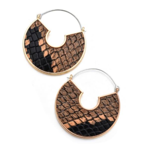 Snake Skin Half Moon Earrings