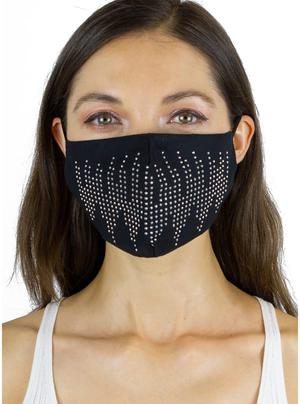 2Pcs Stone / Solid Face Mask - Black / Clear - Front