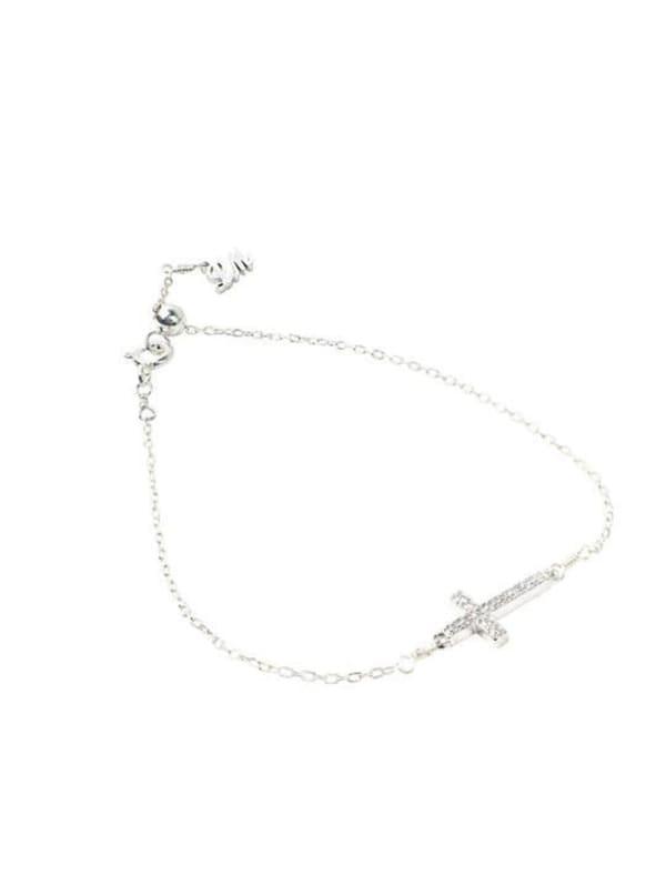 Sterling Silver Cross Bracelet - Sterling Silver - Front
