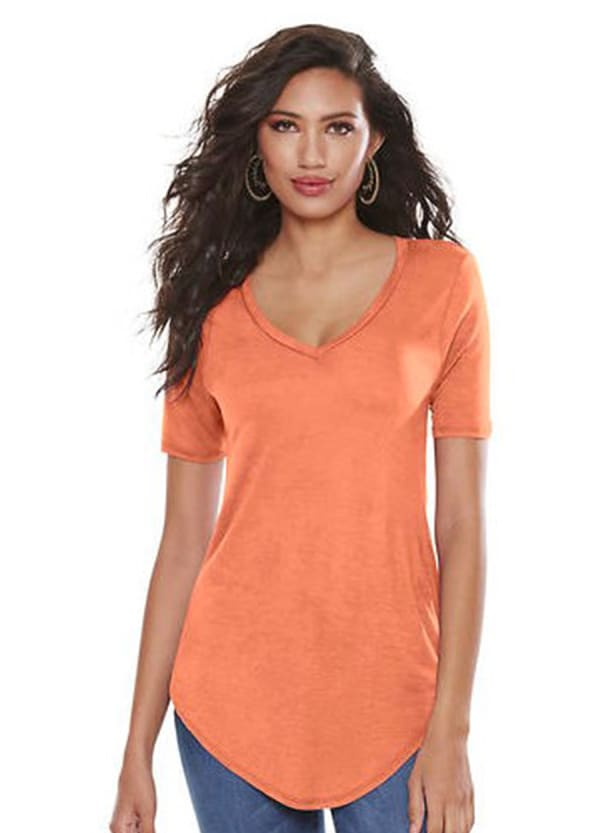 Basic V-Neck Long Tee - Coral - Front