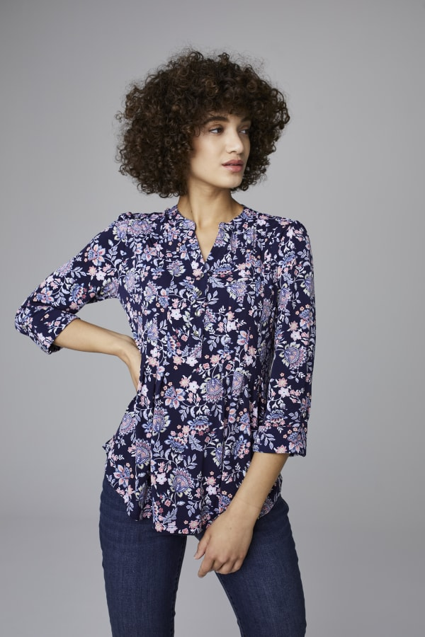 Roz & Ali Jacobean Floral Pintuck Popover - Misses - Navy - Front