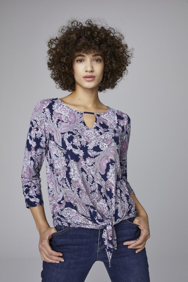 Westport Paisley Tie Front Knit Top -Navy Multi - Front
