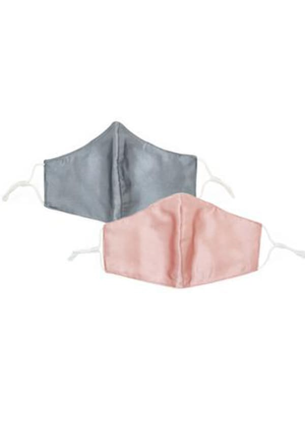 Silver and Blush Nose Wire Satin Wide Face Mask - 2 Pack - Silver / Blush - Front