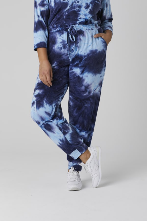 Tie Dye French Terry Jogger Pants - Plus - Navy - Front
