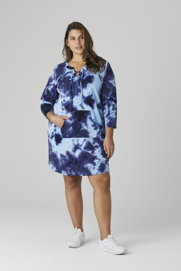 French Terry Tie Dye Dress - Plus - Navy - Front