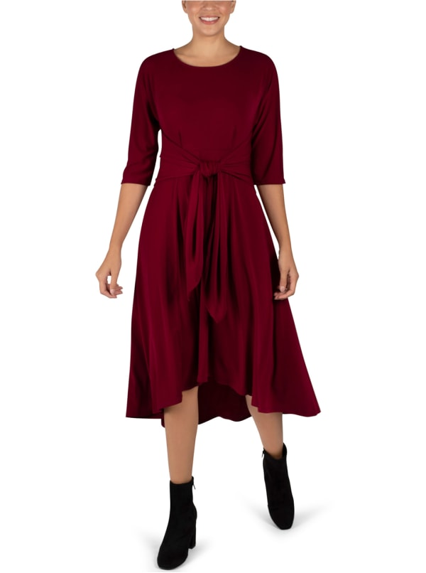 Tie Front Midi Dress Hi-Lo Hem- Misses - Wine - Front