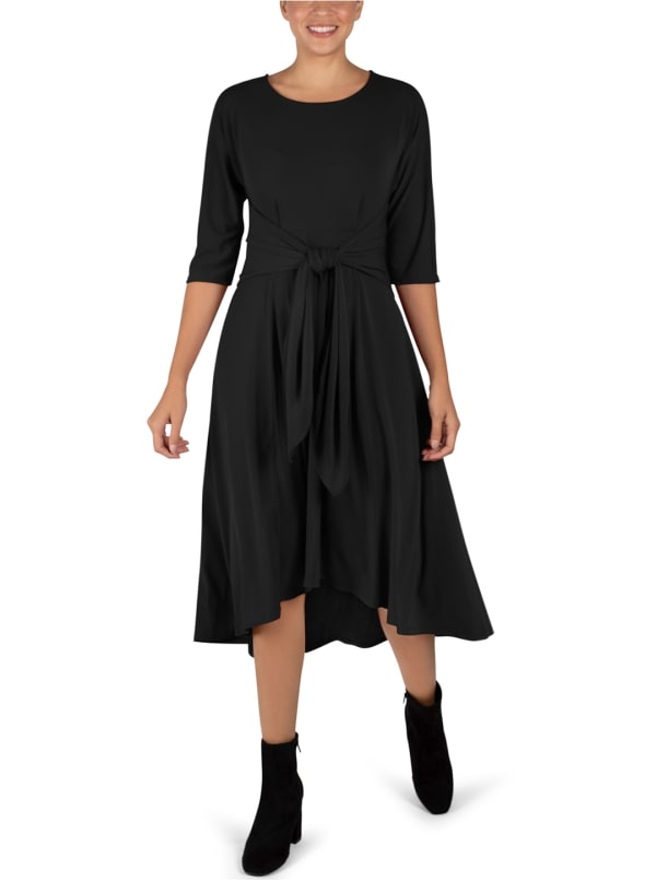 Tie Front Midi Dress Hi-Lo Hem- Misses - Black - Front