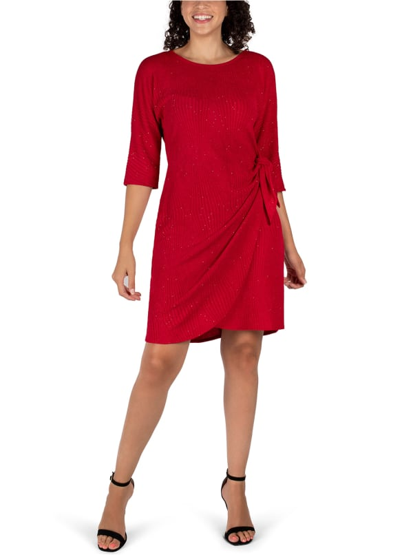 Faux Wrap Knit Dress - red - Front