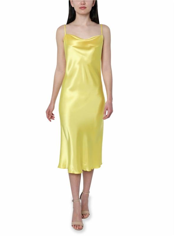 Bebe Satin Midi Dress - yellow - Front
