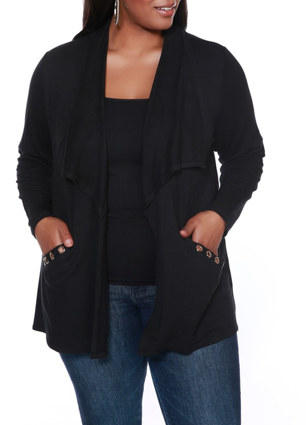 Grommet Pocket Shawl Cardigan - Black/Gold - Front