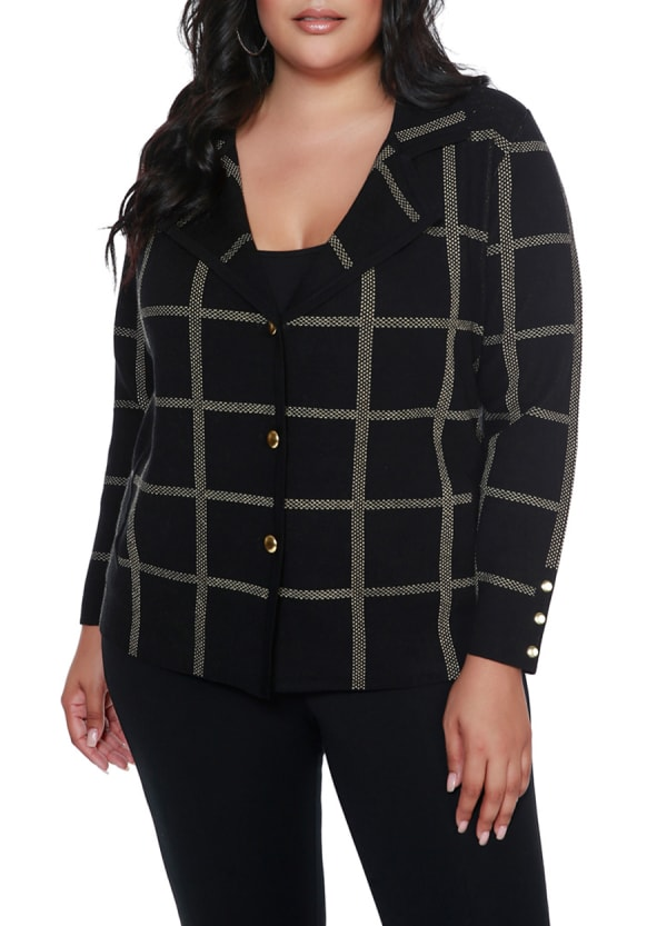 Plaid Sweater Jacket - Plus -Black/Gold - Front