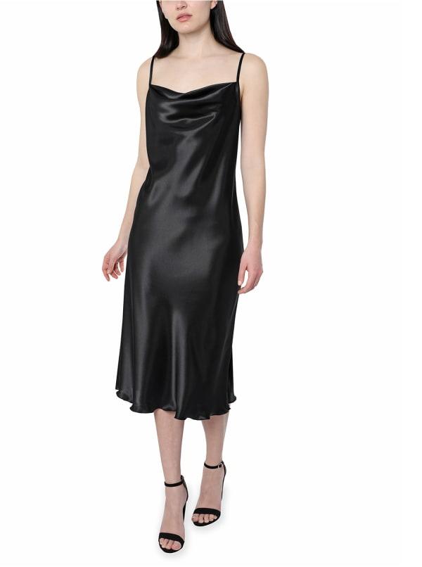 Bebe Satin Midi Dress - black - Front