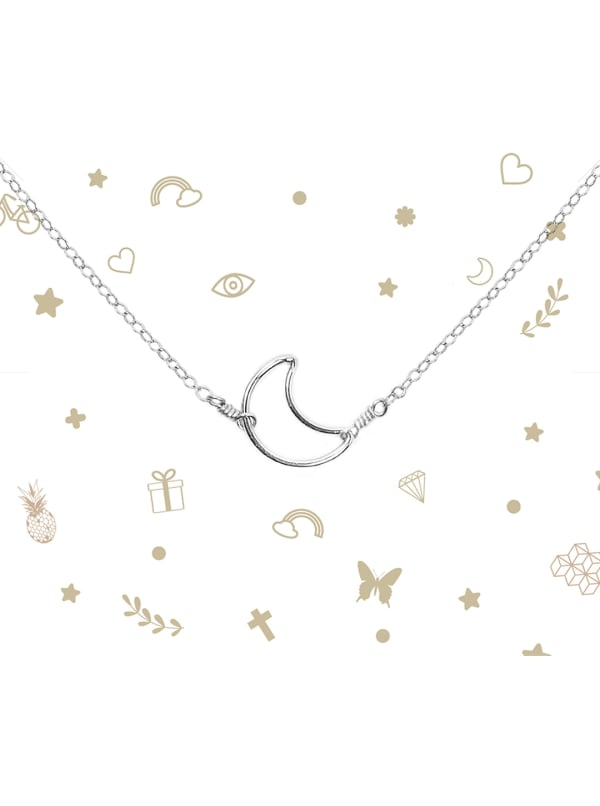 Sterling Silver Moon Necklace - Sterling Silver - Front