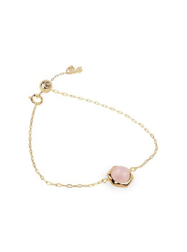 14K Gold-Filled Rose Quartz Bracelet - Gold - Front