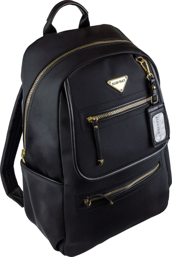Ellen Tracy Nylon Workbook Backpack - Black - Front
