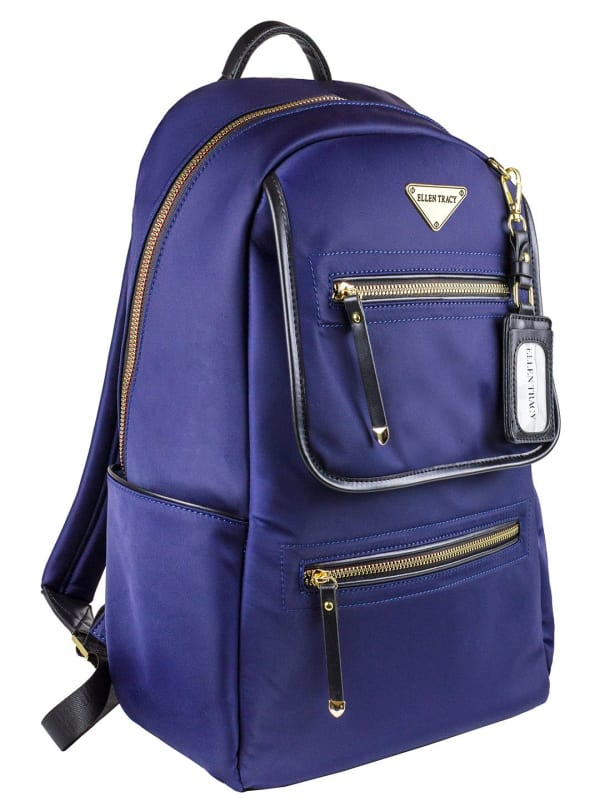 Ellen Tracy Nylon Zippered Workbook Backpack - Navy - Front