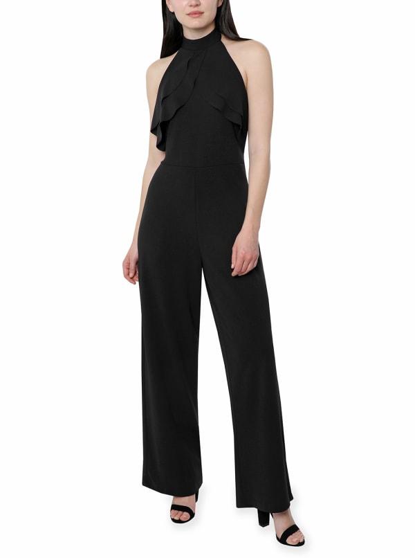 Bebe Halter Neck Crepe Jumpsuit - black - Front