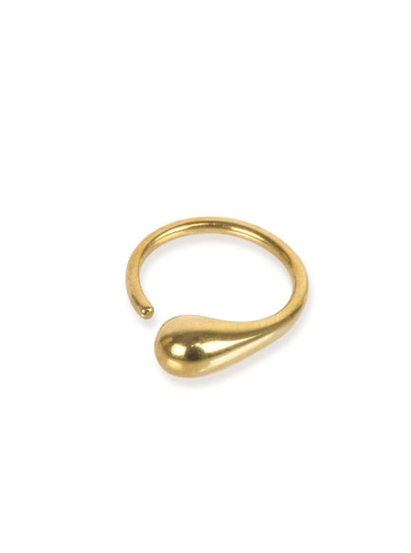 Handcrafted 24K Gold Plated Delicate Dash Ring - Gold - Front