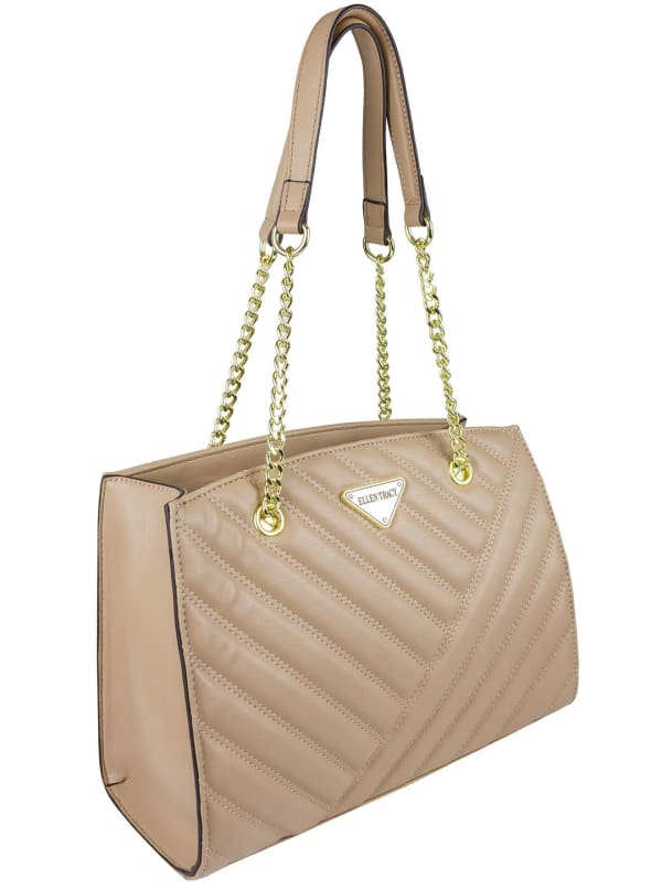 Ellen Tracy Quilted PU Double Handle Satchel W. Chain Handles - Natural - Front