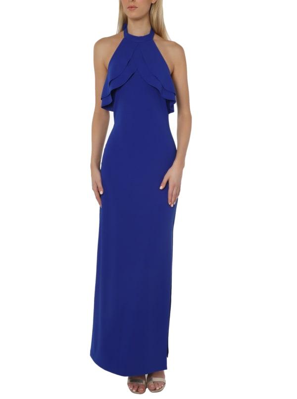 Bebe Ruffle Halter Gown - cobalt - Front