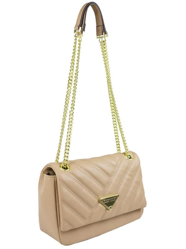 Ellen Tracy Quilted PU Shoulder Bag W. Chain Handles