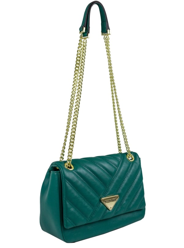 Ellen Tracy Quilted PU Shoulder Bag W. Chain Handles - Emerald Green - Front