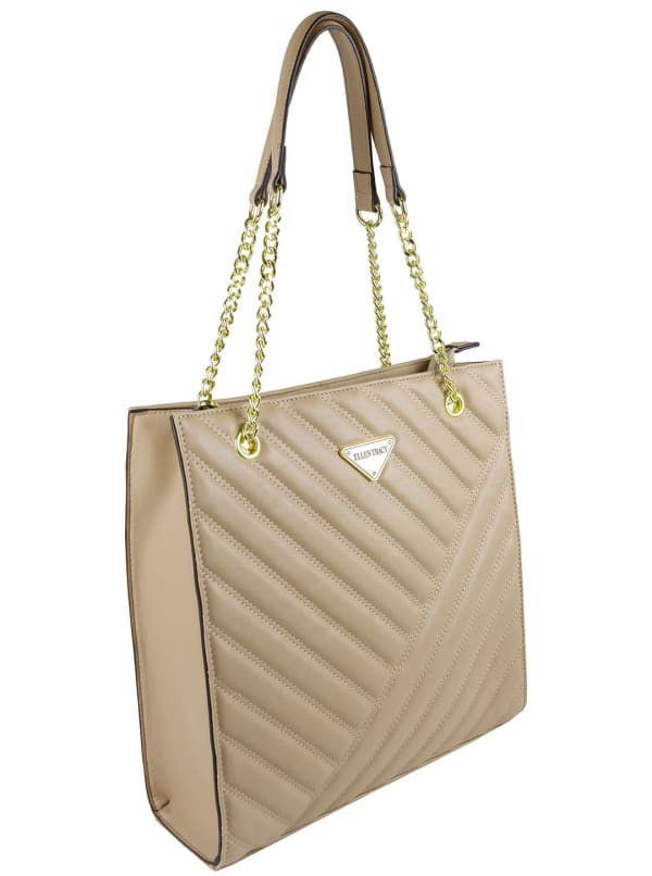 Ellen Tracy Quilted PU Shopper Tote W. Chain Handles - Natural - Front