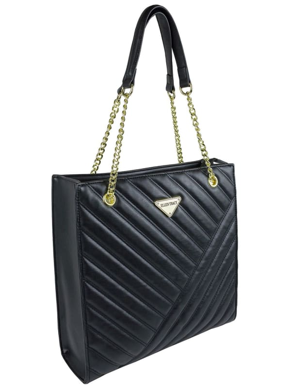 Ellen Tracy Quilted PU Shopper Tote W. Chain Handles - Black - Front