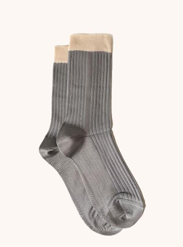 Italian Color Block Crew Socks - Grey / Talc - Front