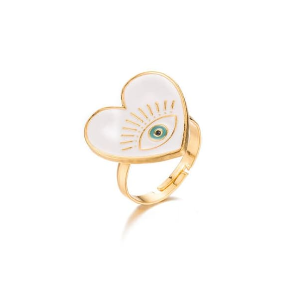 Gold Plated White Heart Ring