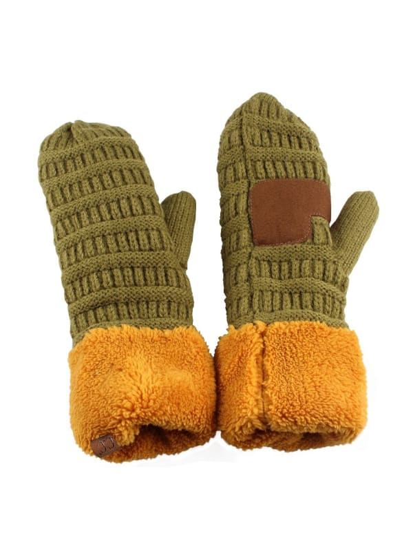 CC® Multi Color Mittens - Olive / Mustard - Front
