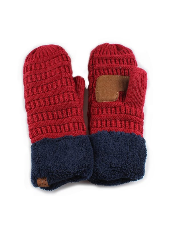 CC® Multi Color Mittens - Burgundy / Navy - Front