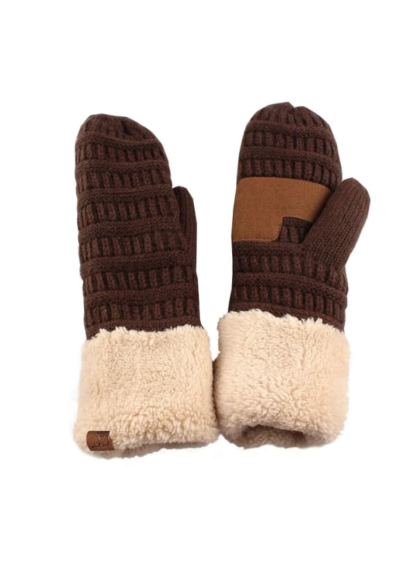 CC® Multi Color Mittens - Brown / Beige - Front