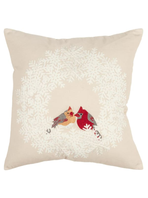 "Holiday Cardinal Birds 20""x20"" Natural Cotton Poly Filled Pillow - Natural - Front"