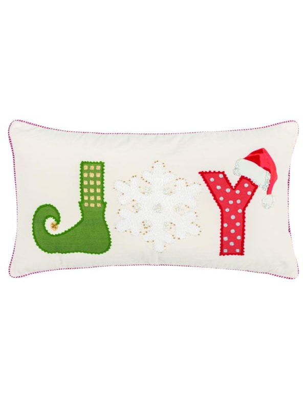 """""""Joy"""" Word 14"""" x 26"""" Multi Color Cotton Poly Filled Pillow - White - Front"""