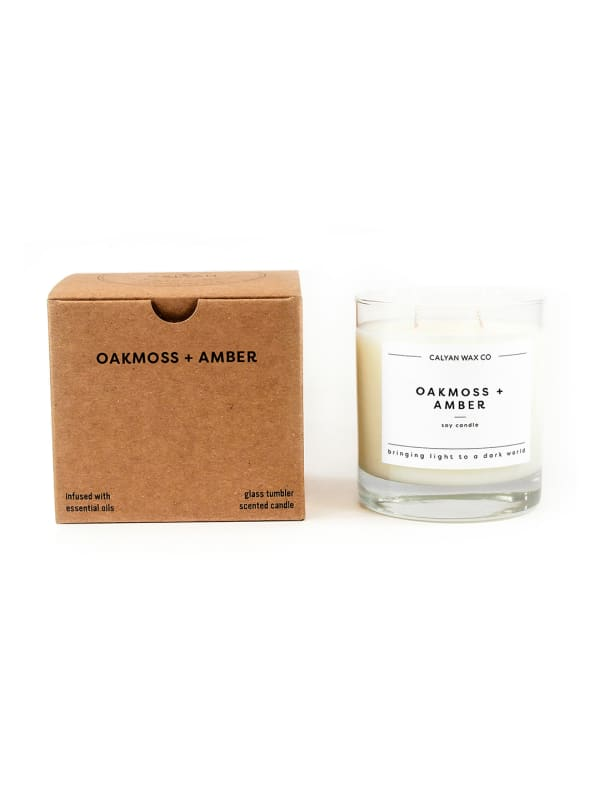 Oakmoss/Amber 8.25 oz. Clear Glass Tumbler Soy Wax Candle - White - Front