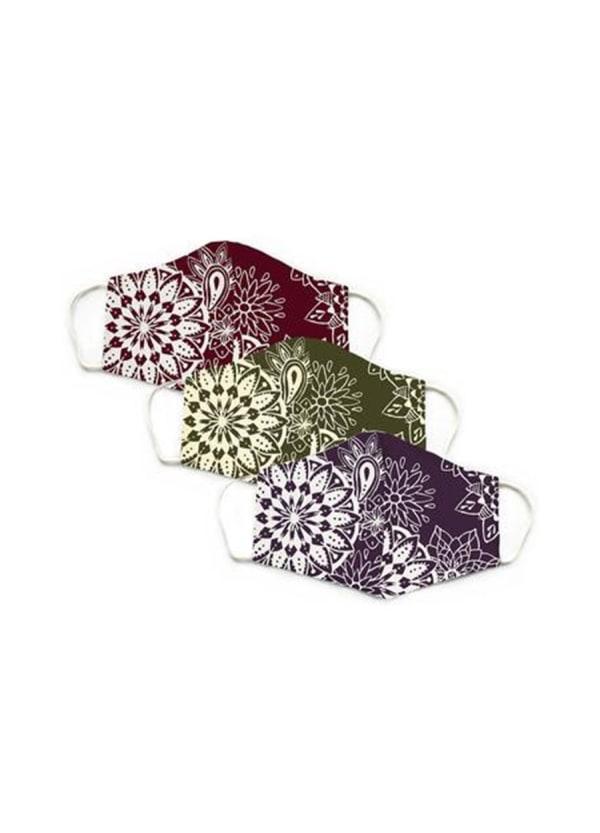 Nose Wire Autumn Mandala Wide Face Mask Bundle (3-Pack) - Multi - Front