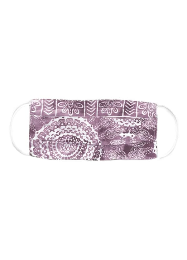 Plum Nose Wire Pleated Print Face Mask - Plum - Front