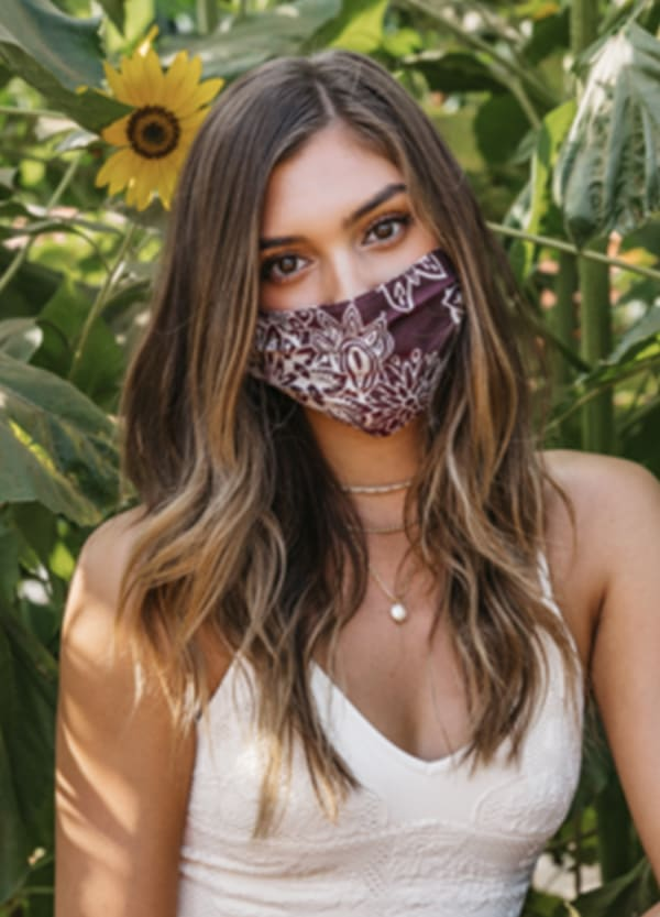 Eggplant Nose Wire Pleated Print Face Mask - Eggplant - Front