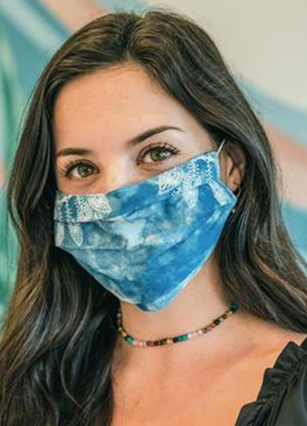 Azure Nose Wire Pleated Print Face Mask - Azure - Front